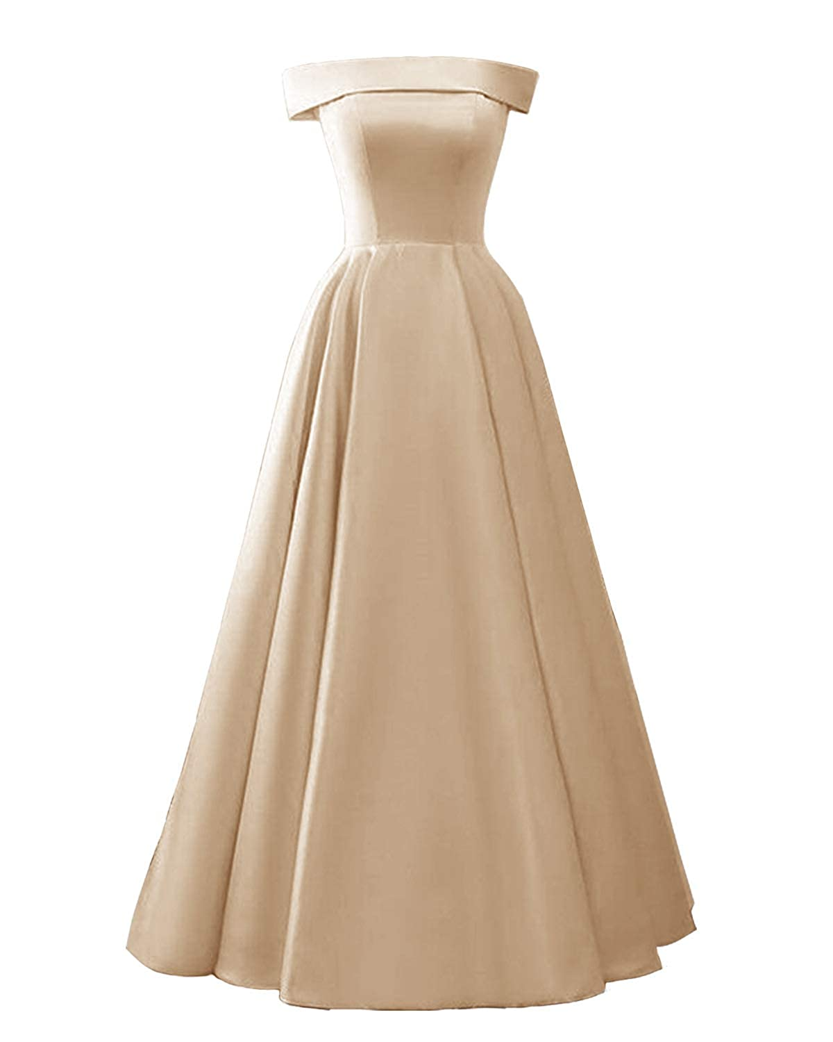 Champagne CCBubble Womens Long Satin Prom Dresses Off Shoulder Formal Evening Wedding Party Dress