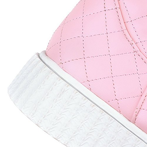AllhqFashion Mujeres Material Suave Sin cordones Puntera Redonda Mini Tacón Botas Rosa