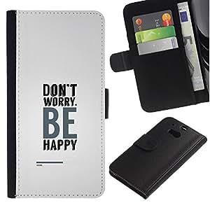 """JackGot ( No se preocupe sea feliz"""" ) HTC One M8 la tarjeta de Crédito Slots PU Funda de cuero Monedero caso cubierta de piel"""