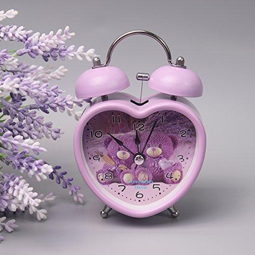 Bear Clock Desk (Creative Cozy Provence Purple Cartoon Bear Alarm Clock Mute Needle Night Light Clock Snooze Function Table Clock)