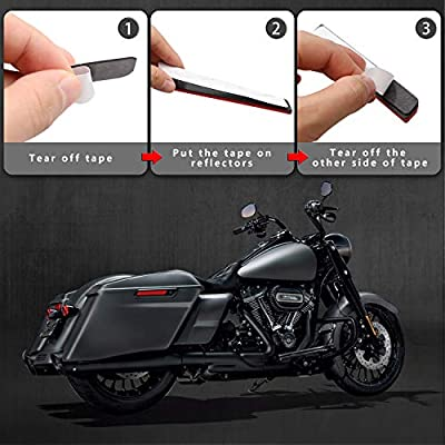 NTHREEAUTO Red Saddle Bag Reflector Inserts Latch Covers Compatible with 1993-2013 Harley Davidson touring model FLT, FLHT, Road King, Street Glide, ETC: Automotive