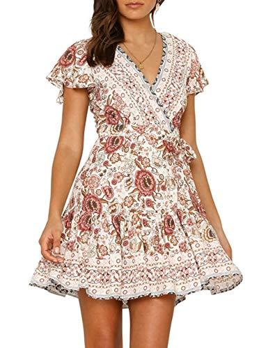 MEROKEETY Women's Summer Wrap V Neck Bohemian Floral Print Ruffle Sleeves A Line Beach Mini Dress White ()