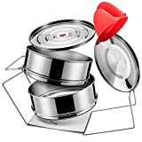 MY YOU AND ME Stackable Steamer Insert Pans with Sling - Instant Pot Accessories for 5.5,6, 8, 10Qt - Stainless Steel Food Steamer for Pressure Cooker with Two Interchangeable Lids