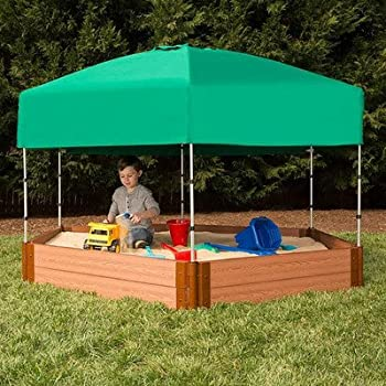 Frame It All Telescoping Hexagon Sandbox Canopy and Cover & Amazon.com: Outdoor Sandbox with Canopy - Pink and White: Toys u0026 Games