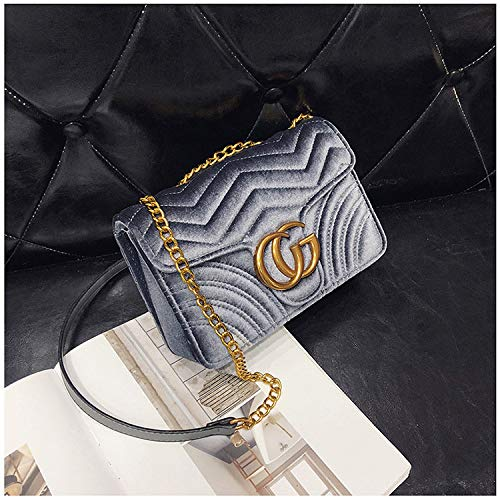 c0be9dff199b Gentle C GC Marment Style 443497 Velvet Shoulder Bag Women's Velvet Simple  Elegant Quilted Shoulder Bag Stylish Crossbody Bag Golden Chain-Small Gray