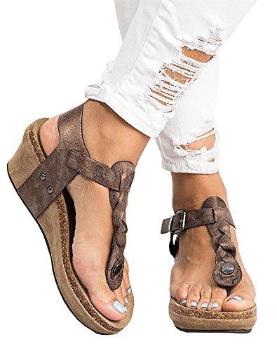 Sandali Sandali Donna Piattaforma Zeppe Intrecciato Eleganti alla A Moda Estivi Sandali con Cinturino Caviglia Marrone Donna Espadrillas Corda Minetom Ova7wqtc