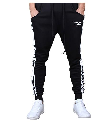 EJY Hommes Casual Danse Pantalon Hiphop Baggy Sport Jogging Sarouel Pants ( Noir e86db5d0b52