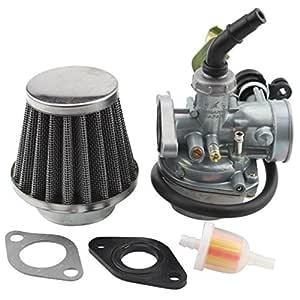 GOOFIT Carburador 19 con Filtro de Aire con Filtro de Combustible del Guarnizoni para 2 tiempos 50cc 70cc 90cc 110cc ATV Quad Scooter Go Kart Pocket ...