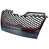 NEVERLAND NEVERLAND Front Uper Hex Mesh Grille Grill Badgeless Red Trim For VW GTI GLI JETTA MK5 2006-2009
