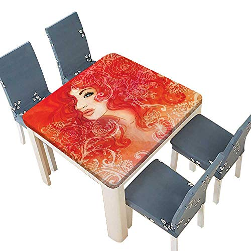 PINAFORE Jacquard Polyester Fabric Tablecloth Decor Woman Face Floral Ornamentals in Hair Glamour Watercolor Modern Art Red Suitable Home use 61 x 61 INCH (Elastic Edge)