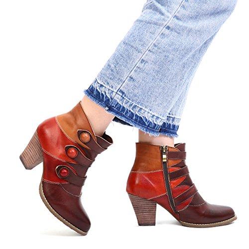 2018 Grande Poiture Ville Semelle Hauts Automne Boots Moyens Cuir Femme Original Avec Marron Rouge Gracosy Bohème Talons Bottes Confortables Chaussures Noir Bottines Hiver À Pour Design wB16HqA