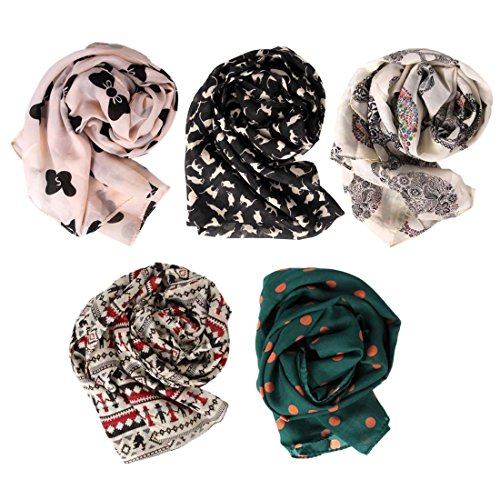BMC Stylish 5pc Colorful Pattern Lightweight Summer Accessory Multipurpose Scarf Collection Various Designs - Set 1