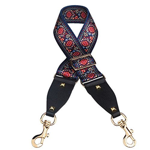 Myathle 2 Wide Purse Strap Replacement Guitar Style Colorful Canvas Adjustable 35- 51 Crossbody Bag Straps for Handbags Flower