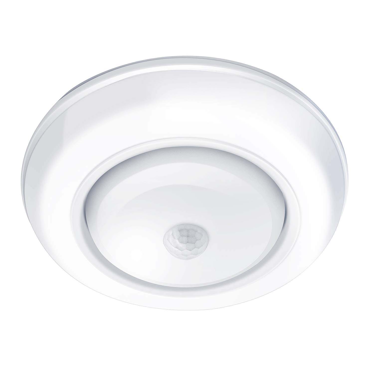 Motion Sensor Ceiling Light Battery Operated AriesTech Wireless Motion Sensing Activated LED Light White 180 Lumen Indoor for Entrance, Stairs, Hallway, Basement, Garage, Bathroom, Cabinet, Closet