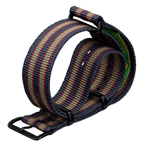 Vintage Bond Nylon Watch Strap UK MOD Dark Blue/Red/Green Stripe 22mm PVD Black - Black Pvd Strap