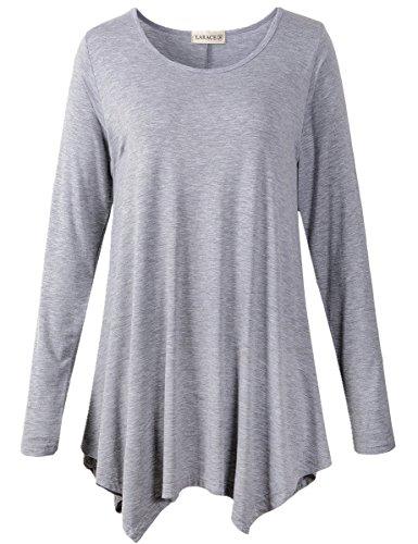 LARACE Womens Long Sleeve Flattering Comfy Tunic Loose Fit Flowy Top (L, Light Gray)
