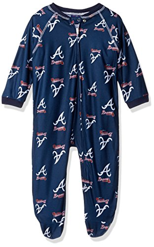 MLB Infant Braves Sleepwear All Over Print Zip Up Coverall, 12 Months, Athletic Navy -