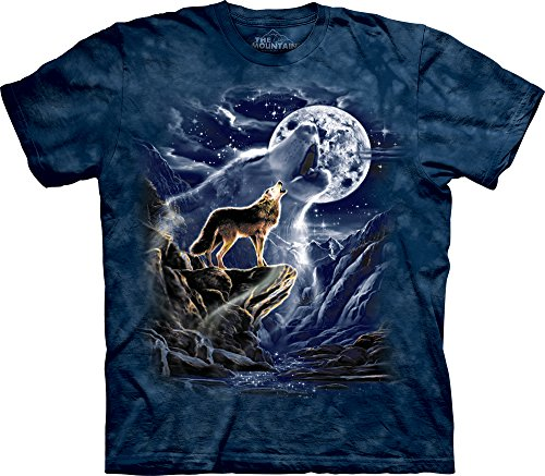 The Mountain Mens Wolf Spirit Moon Short Sleeve T-Shirt, Blue, X-Large (Wolf T-shirt Moon)