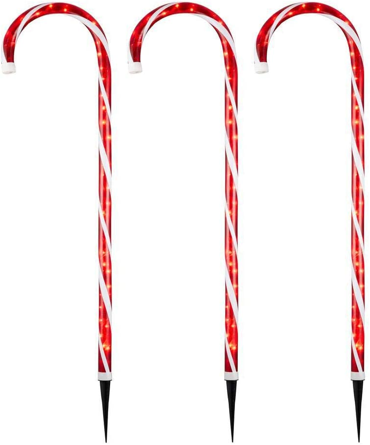 Home Accents Holiday 4 ft. Lighted Candy Cane (3-Pack)