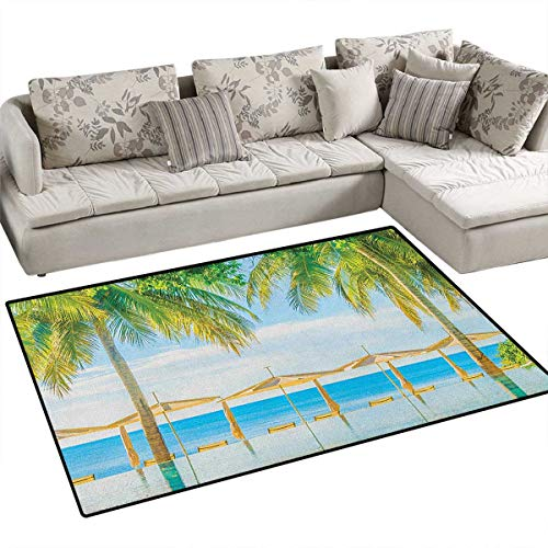 (Landscape,Floor Mat,Exotic Beach with Pool Nature with Soft Sun Rays Fantastic Holiday Theme Print,Rugs for Bedroom,Green Blue Size:40