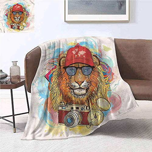 DILITECK Reversible Blanket Hipster Lion Hat Compass Camera Warm Blanket W54 xL72 Traveling,Hiking,Camping,Full Queen,TV,Cabin