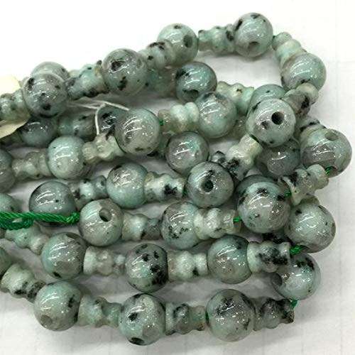 - GemAbyss Beads Gemstone 1 Strands Natural Black Dot Green Sesame Jade Pagoda Tee Three Links Buddha Head Tibet Guru Barrel Big Hole Beads Size: 10mm+6x8mm (10 Sets/lot) 04231 Code-MVG-23466
