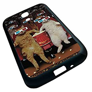 Tt-shop Custom Cats Wearing 3D Glasses Watching Movie Film and Eating Popcorn Pattern For SamSung Galaxy S4 I9500 (Laser Technology)