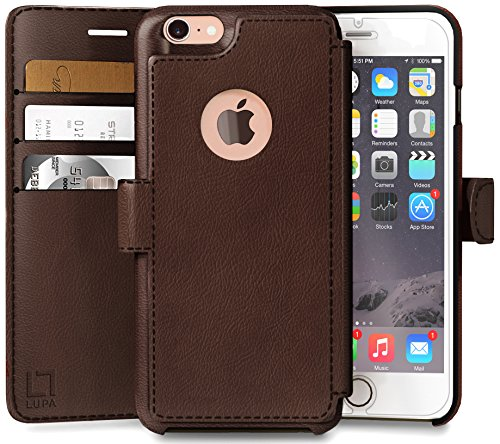 LUPA Wallet case for iPhone 8, Durable and Slim, Lightweight, Magnetic Closure, Faux Leather, Dark Brown ()