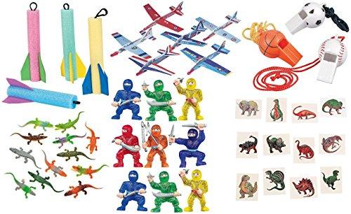 120 piece Boy's Party favor Toy Assortment Bundle Pack, Pinata filler, Kid's Grab Bags, Carnival prizes Alligator Enterprise Stars