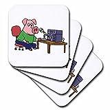3dRose Funny Pink Pig using HAM Radio Cartoon