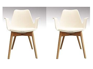 Sedie Bianche Design : Meubletmoi set di sedie bianche poltrone scandinavo braccioli