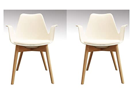 Sedie Bianche Design : Meubletmoi set di 2 sedie bianche poltrone scandinavo braccioli