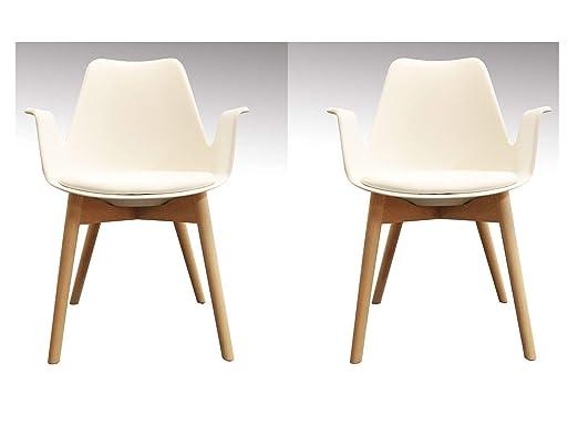 Meubletmoi - Juego de 2 sillas Blancas - sillones ...