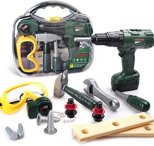 HomeMall Kids Tool Set Toy Tool SetPower Toy Drill Contains Tool Box and Toy Wrench Hammer Goggles and More Play Tools Accessories Preschool Education Learning Toy for Boys and Girls Age 3+