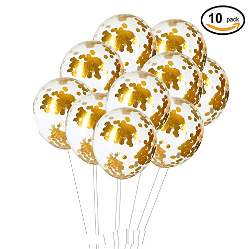 18inch Glitter Gold Confetti Balloons Baby Shower Birthday Wedding Party Decorations, 10pc by WEVEN