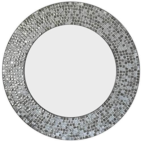 DecorShore 24 in. Ceramic Glass Mosaic Decorative Wall Mirror in Cool Gray -