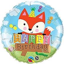 Qualatex 18 Inch Round Happy Birthday Fox Design Foil Balloon (One Size) (Multicolored)