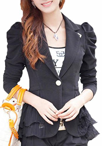 Hokny TD Women's Slim Peplum Puff Sleeve Lapel Work Comfy Suit Jacket Coat Black ()