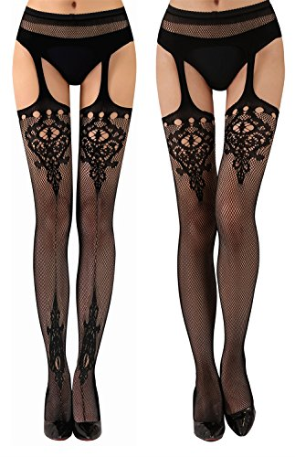 b9403c21a5e9a ... TGD Womens Fishnet Tights Suspender Pantyhose Thigh-High Stockings  Black 4 Pairs-Style9( ...