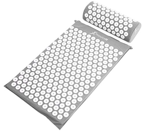 Mats Rest Care Day (ProSource Acupressure Mat and Pillow Set for Back/Neck Pain Relief and Muscle Relaxation, Grey)