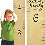 "Growth Chart Art | Wooden Ruler Height Chart for Kids | Naked Birch Ruler with Saying ""Our Growing Family"" 