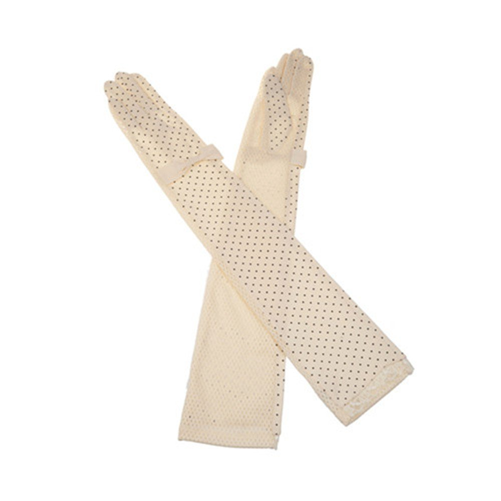 Summer Women Dots Sun UV Protection Outdoor Cotton Long Sleeves Driving Gloves