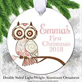 Simply Customized Baby's First Christmas Ornament - Personalized Ornament Pink Owl Baby Girl Double Sided Aluminum Rust Free Never Break Bend Crack