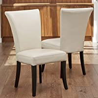 Elmore Ivory Leather Dining Chairs (Set of 2)