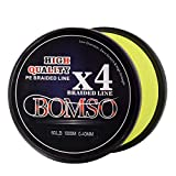 BOMSO 1000m 1094yds 10lbs-60lbs PE Ultra High Molecular Weight Polyethylene(HHMWPE) Dyneema Braided Fishing Line 4 Strands(YE30 For Sale