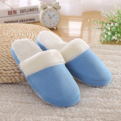 fondo caldo pantofole home pantofole in uomini 43 di di inverno paio in cotone Fankou autunno e donne anche blu morbido cotone e colore 42 solido Z16qfq4OU