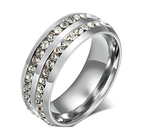 Jiedeng Unisex Ring Stainless Steel Ring with Two Rows CZ Ring Wedding Ring for Men Women Silver Size 10 ()