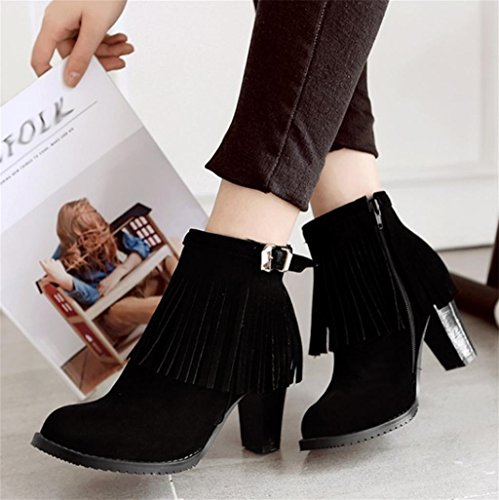 Bowtie Tassel Party Suede Round Black temperament Personality High With Heels Head Women'S elegant Pumps Boots Heel HETAO Dress Shoes HRPpq07w7