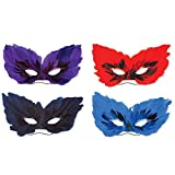 Club Pack of 48 Adult Decorative Fancy Feather Masquerade Masks 10.75''