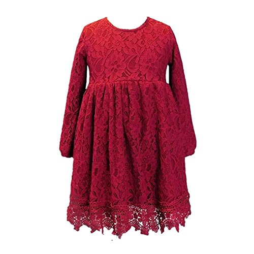 Little Miss Princess Tutu - Miss Bei 2018 Kids Girls Lace Flower Dress With Sleeves, Little Girls Gowns Wedding Party Princess First Communion Dress(Red, 8-9Y)